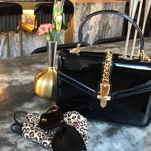 Gucci Sylvie 1969 patent leather top handle bag